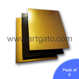 5 Gold / Black Mirror Cake Cards   Square - Pack of 5