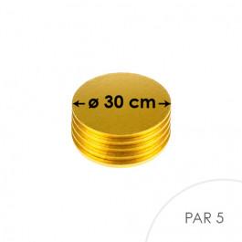 5 Cartons à entremets - Ronds 30 cm - or