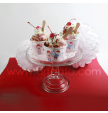 12 Ice Cream Cups - Vintage-Style, w/ wooden spoons