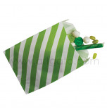 12 Party Favour Bags | Striped Lime Green