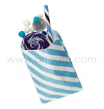 12 Party Favour Bags | Striped Blue
