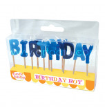 Birthday Candles - Letters | BIRTHDAY BOY -  2,5 cm High, Blue