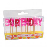 Birthday Candles - Letters | BIRTHDAY QUEEN -  2,5 cm High, Pink & Red