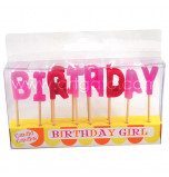 Birthday Candles - Letters | BIRTHDAY GIRL -  2,5 cm High, Pink
