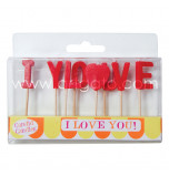 Birthday Candles - Letters | I LOVE YOU -  2,5 cm High, Red