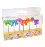 Birthday Candles | Novelty - Circus Animals - 6 assorted Designs & Colours