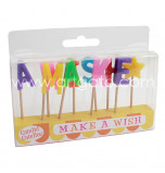 Birthday Candles - Letters | MAKE A WISH -  2,5 cm High, Rainbow