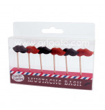 Birthday Candles | Novelty - Moustache - 6 Pieces, 2 Colours