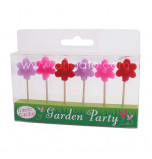 Birthday Candles | Novelty - Flower - 6 Pieces, 3 Colours