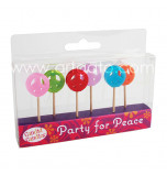 Birthday Candles | Novelty - Peace & Love - 6 Pieces, 6 Colours