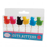 Birthday Candles | Novelty - Cats - 6 Pieces, 6 Colours