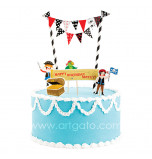 Cake Decorating Set | Pirates - 5 Cake Toppers and mini Flag Bunting