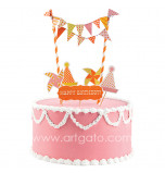 Cake Decorating Set | Sweet Soiree - 5 Cake Toppers and mini Flag Bunting