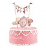 Cake Decorating Set | Queen for a Day - 5 Cake Toppers and mini Flag Bunting