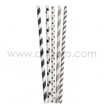 25 Paper Straws| Stripes & Dots Mix - Black and Grey