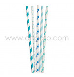25 Paper Straws| Stripes & Dots Mix - Blue and Aqua Blue