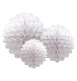 Pompons | White - Set of 3 Sizes, Honeycomb