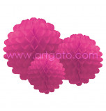 Pompons | Fuchsia Pink - Set of 3 Sizes, Honeycomb