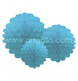 Pompons |Aqua Blue - Set of 3 Sizes, Honeycomb