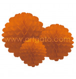 Pompons | Orange - Set of 3 Sizes, Honeycomb