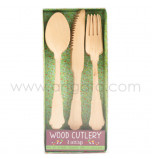 Wood Cutlery, Set of 24 (8 Forks, 8 Knives, 8 Spoons)