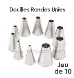 10-Piece Pastry Tip/Tubes | Plain Round Ø 4 à 18 mm