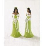 Mariée ou Demoiselle d'Honneur Afro-américaine Robe Vert clair