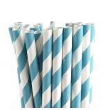 25 Pailles Fantaisie | Rayées Bleu Turquoise