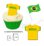 Wafer Toppers | Football T-Shirts 43 x 45 mm - Team Brazil