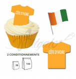 Wafer Toppers | Football T-Shirts 43 x 45 mm - Team Cote d'Ivoire / Ivory Coast