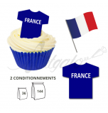Wafer Toppers | Football T-Shirts 43 x 45 mm - Team France / Les Bleus