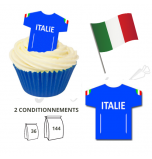 Wafer Toppers | Football T-Shirts 43 x 45 mm - Team Italy