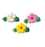 Sugar Decorations | Small Flowers with leaf  Ø 25 mm - 378 pieces, 3 Colours