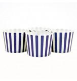 6 Darioles en Carton (Party Cups) | Rayées Bleu Nuit et Blanc