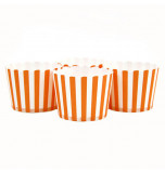 6 Darioles en Carton (Party Cups) | Rayées Orange et Blanc