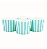 6 Darioles en Carton (Party Cups) | Rayées Turquoise et Blanc