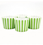 6 Party Candy Cups | Striped Lime Green