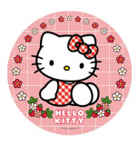 Edible Cake Topper | Hello Kitty - Red Gingham, Wafer Cake Disc Ø 20 cm