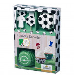 Cupcake Kit | Football / Soccer - 24 Cupcake Liners Ø 7 cm, 12 Toppers, Stickers