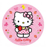 Edible Cake Topper | Hello Kitty - Pink Gingham Dress, Wafer Cake Disc Ø 20 cm