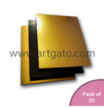 25 Gold / Black Mirror Cake Cards | Square